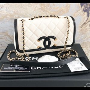 Chanel Filigree Small Quilted Caviar Flap ChainBag
